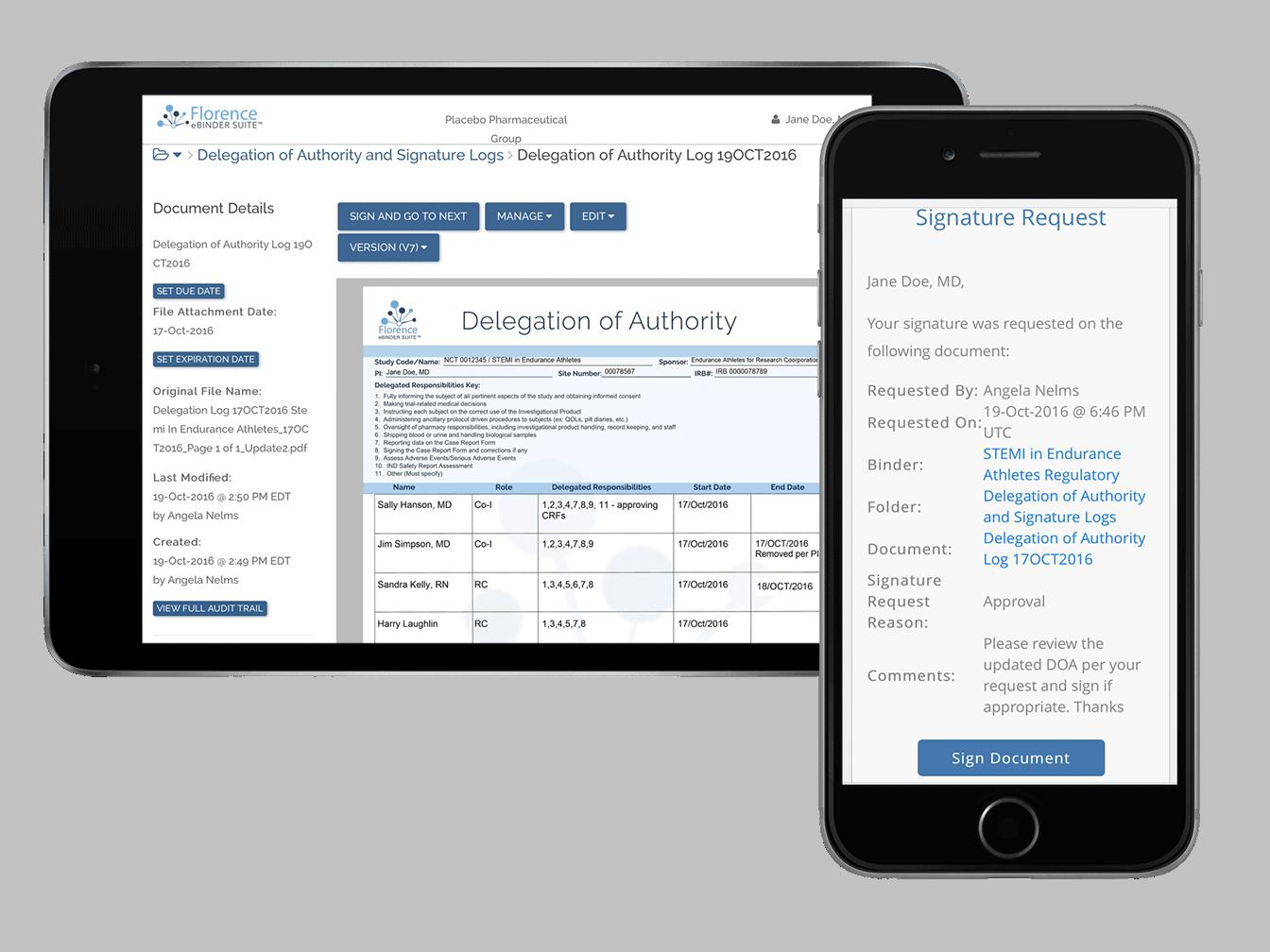 eDOA Log with Florence eBinders for eRegulatory, eSource, and eISF
