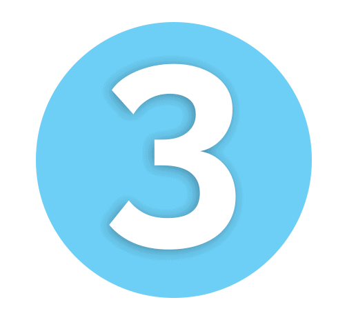 Number 3 Light Blue Icon
